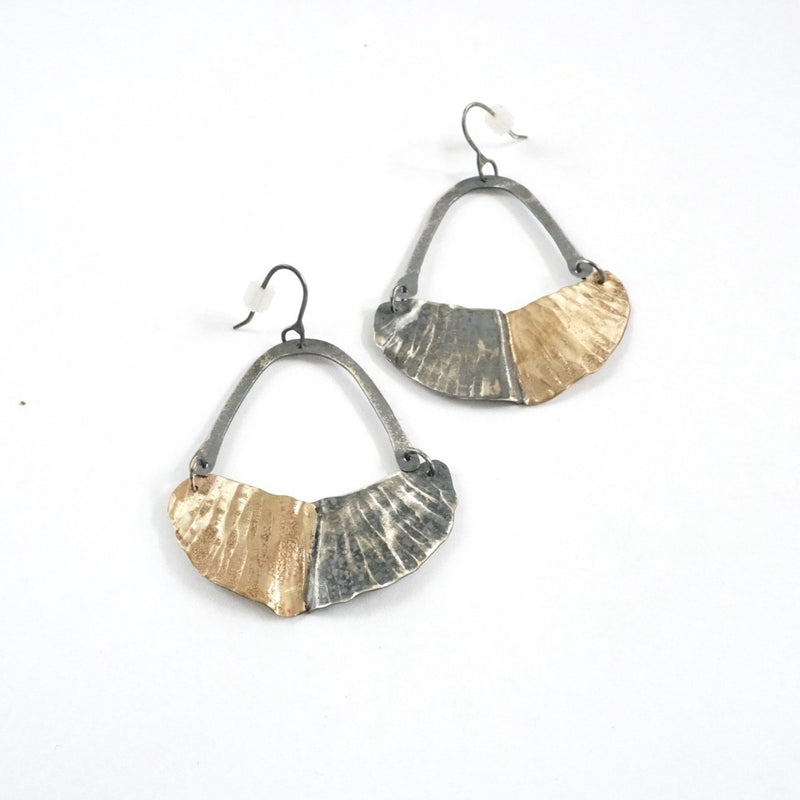 Gold Fill and Oxidized Silver Textured Earrings