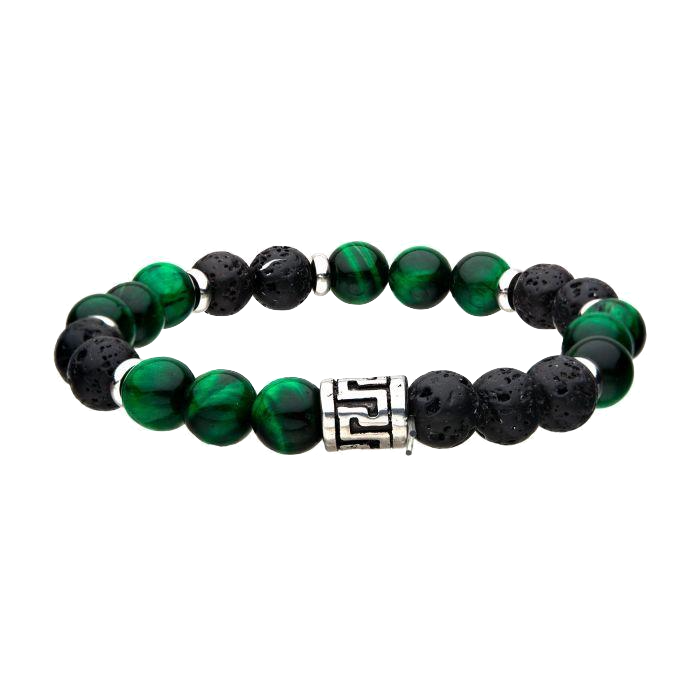 Black Lava and Tiger Eye Green Beads Bracelet - Small