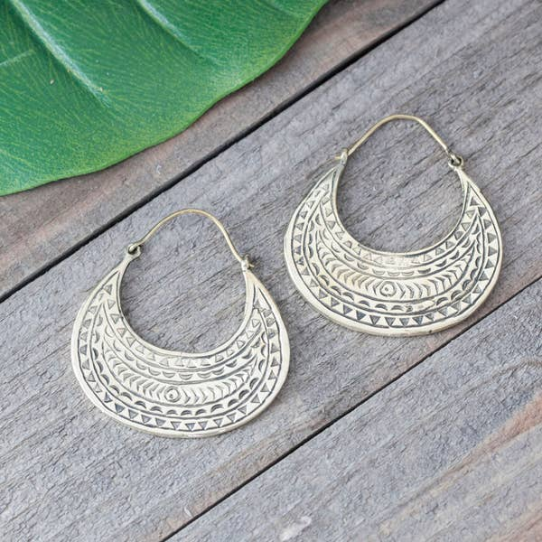 Baizaar Brass Etched Earrings - BE023