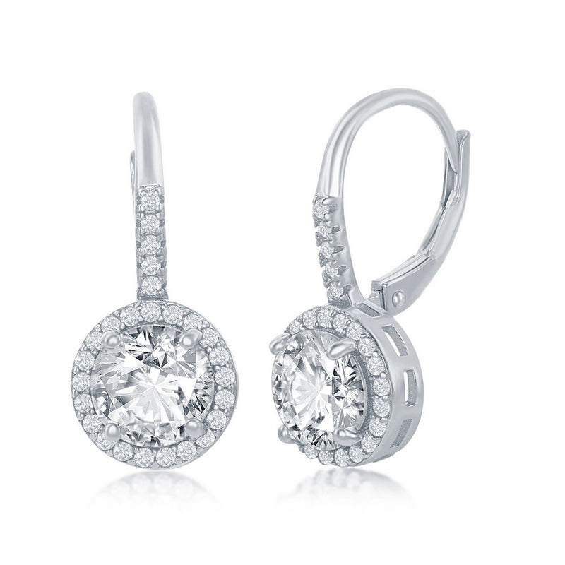 Sterling Silver Round CZ Halo Earrings