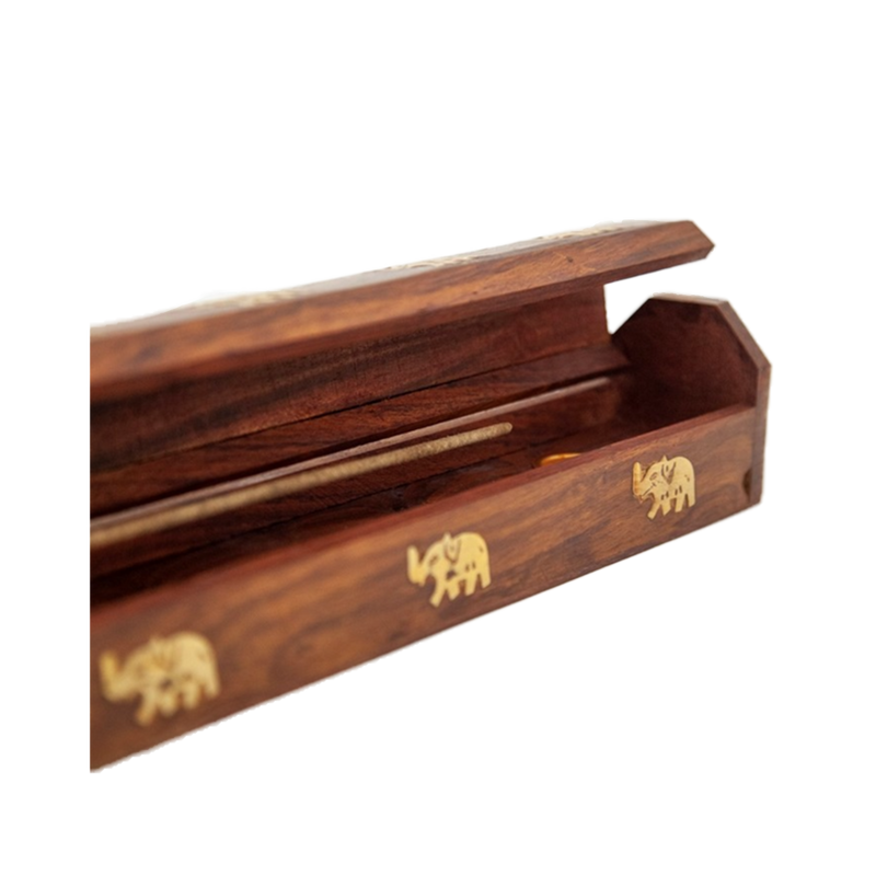 Elephant Wood Box Incense Holder