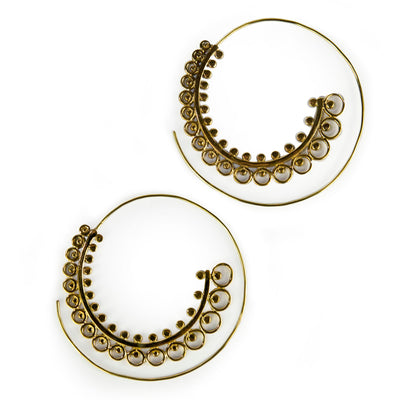 Large Decorated Spiral Earrings