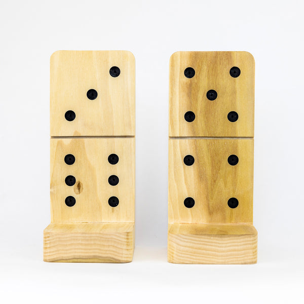 Wooden Domino Bookends