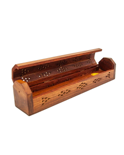 Plain Carved Wood Coffin Ash Catcher