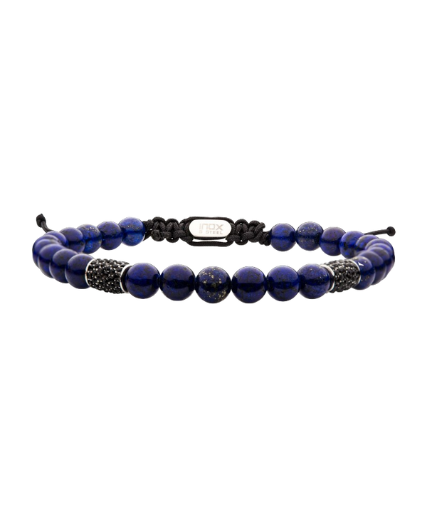 Stainless Steel Beads w/ Black CZ & Lapis Stone Bead Adjustable Bracelet