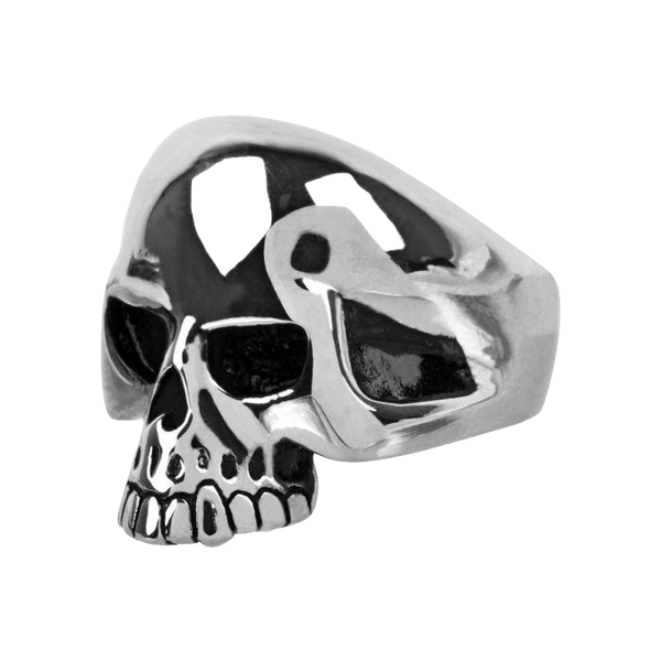 Steel Oxidized Skull Ring