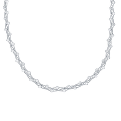 Sterling Silver Braided Chain, Snake with Beads - Rhodium Plated 18""
