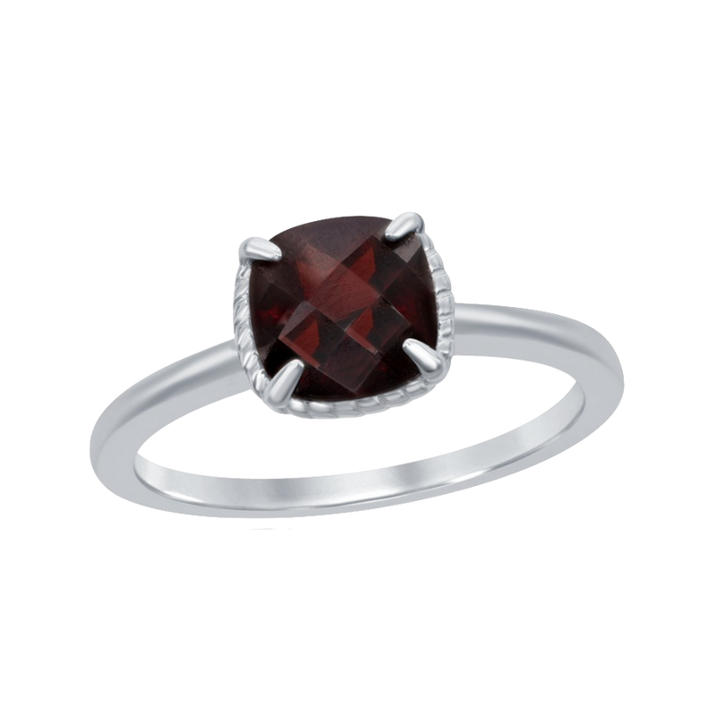 Sterling Silver Four-Prong Square Rope Design Ring - Garnet