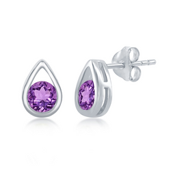 Sterling Silver Open Pearshaped Round Amethyst Stud Earrings