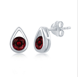 Sterling Silver Open Pearshaped Round Garnet Stud Earrings