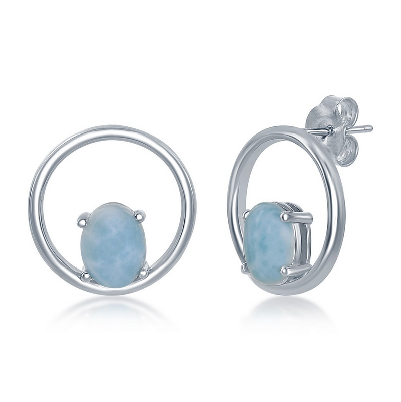 Sterling Silver Prong Oval Larimar Open Circle Earrings