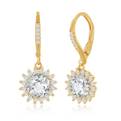 Sterling Silver Round Halo Flower CZ Dangling Earrings - Gold Plated