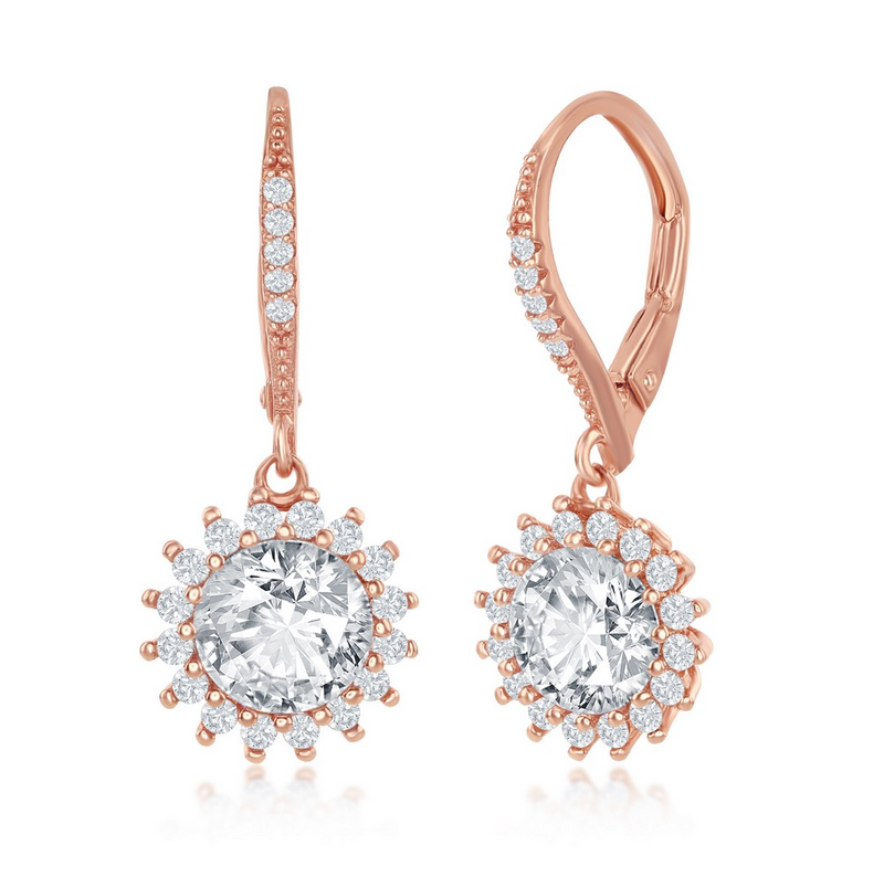 Sterling Silver Round Halo Flower CZ Dangling Earrings - Rose Gold Plated