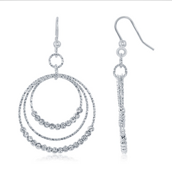 Sterling Silver Triple Circle w/ Diamond Moon Cut Beads Earrings