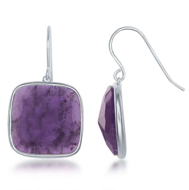 Sterling Silver Square Amethyst Earrings