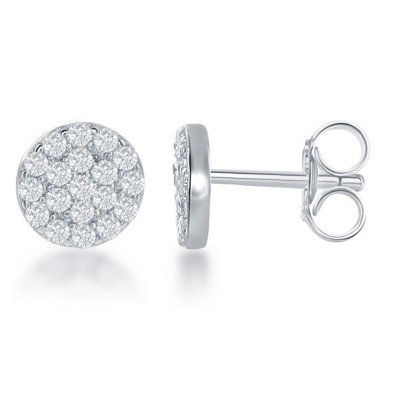 Sterling Silver Small CZ 7mm Round Stud Earrings
