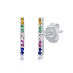 Sterling Silver Rainbow CZ Bar Stud Earrings