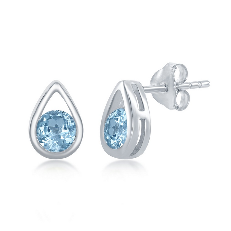 Sterling Silver Open Pearshaped Round Blue Topaz Stud Earrings