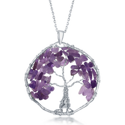 Sterling Silver Amethyst Beads Tree of Life Pendant