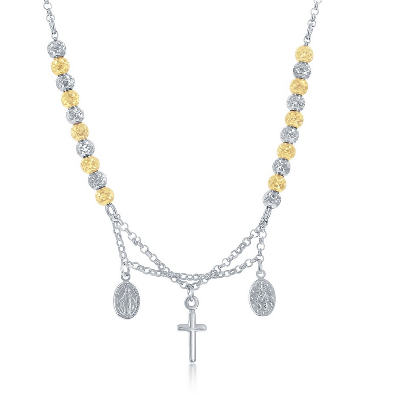 Sterling Silver GP and Silver Diamond Cut Beads w/ Cross and Medal Necklace