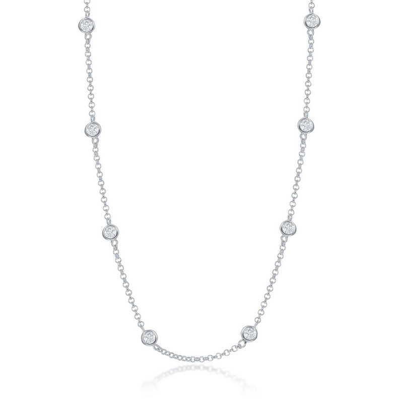 Sterling Silver Linked Necklace w/ Round CZ's