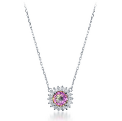 Sterling Silver Small Round Rainbow CZ w/ CZ Border Necklace