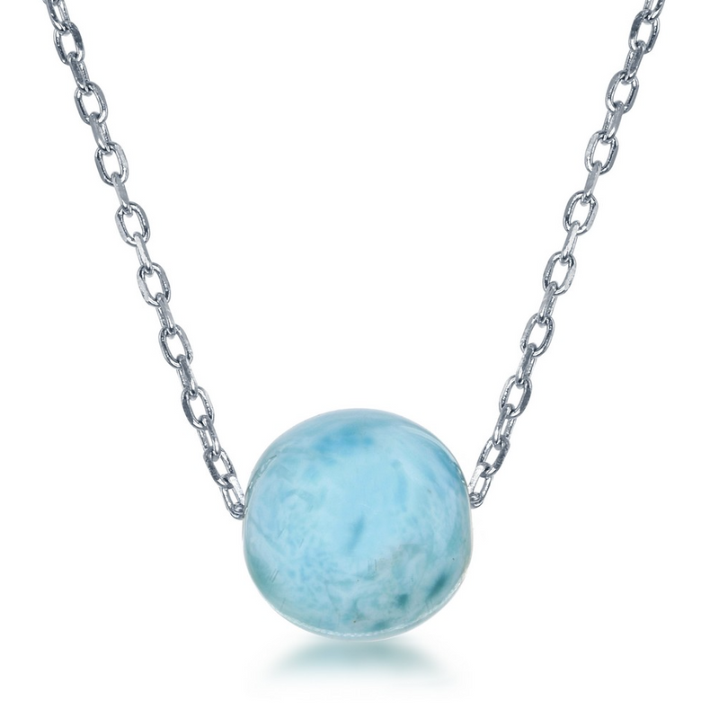 Sterling Silver 8mm Larimar Bead Necklace