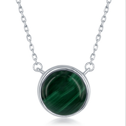 Sterling Silver Round Malachite Bezel Set Necklace