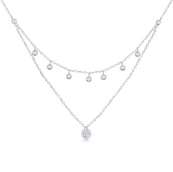 Sterling Silver Double Strand Bezel-set CZ w/ Micro Pave Disc Necklace