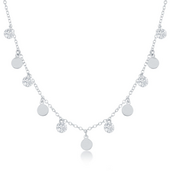 Sterling Silver Dangling CZ's & Discs Necklace
