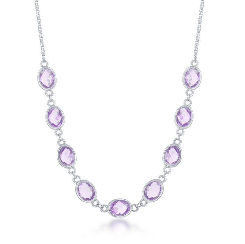 Sterling Silver 13.5cttw Amethyst Ovals, Linked Necklace