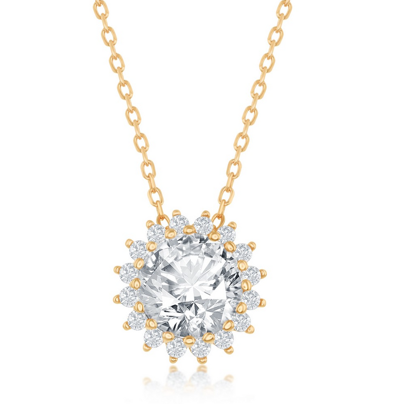 Sterling Silver Round Halo Flower CZ Necklace - Gold Plated