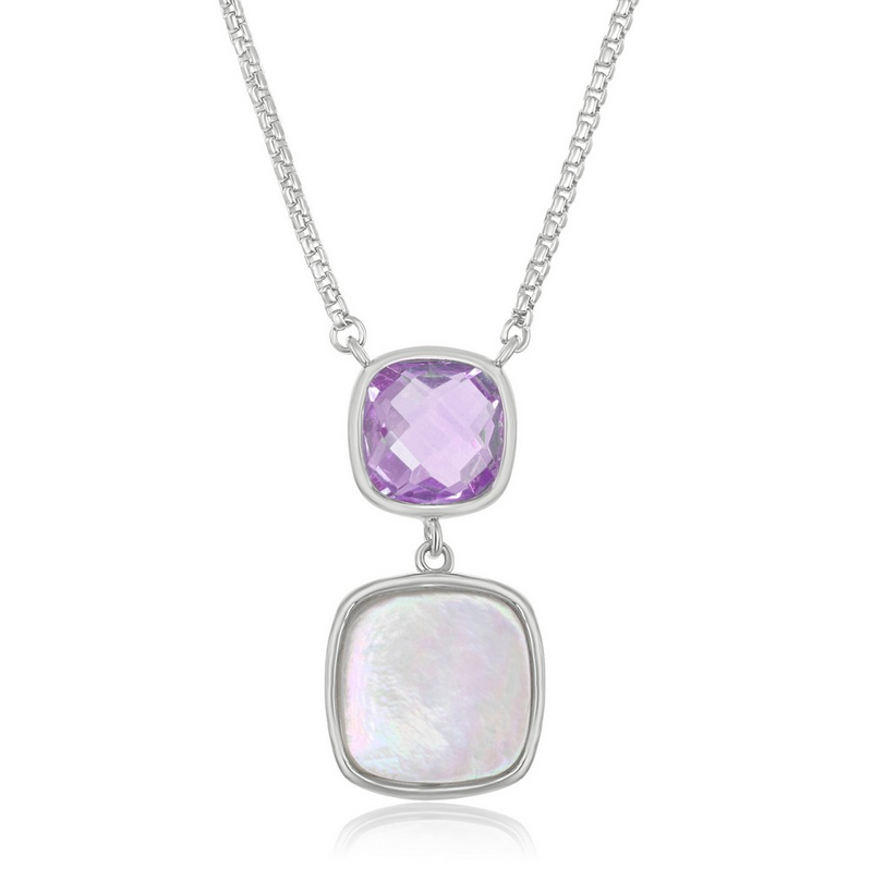 Sterling Silver Double Square Amethyst & Mother of Pearl Necklace