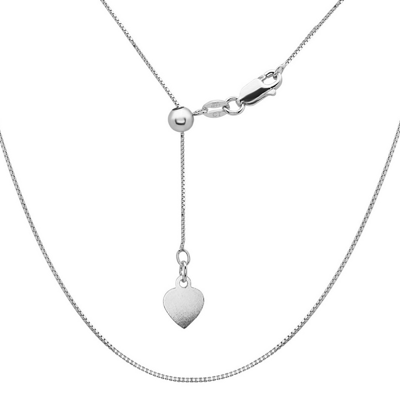 Sterling Silver Adjustable Box Chain - Rhodium Plated