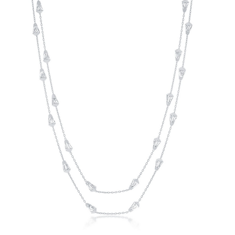 Sterling Silver Diamond-Cut Bullet Beads Chain - Rhodium Plated