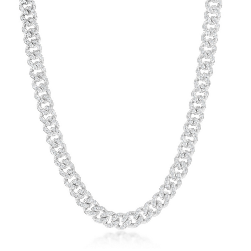 Sterling Silver Micro Pave CZ, 6mm Miami Cuban Chain - Rhodium Plated 24""