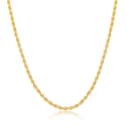 Sterling Silver 1.5mm Rope Chain - Gold Plated 20""