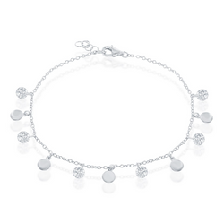 Sterling Silver Alternating Disc & CZ Bracelet