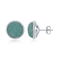 Sterling Silver Round African Amazonite Bezel Set Stud Earrings