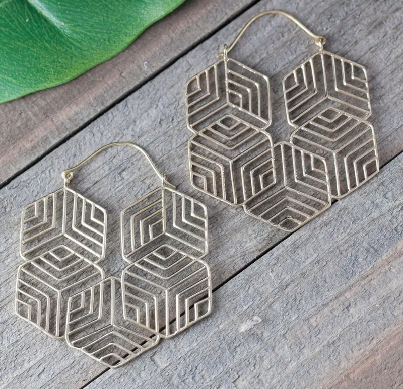 Brass Geometric Maze Earrings
