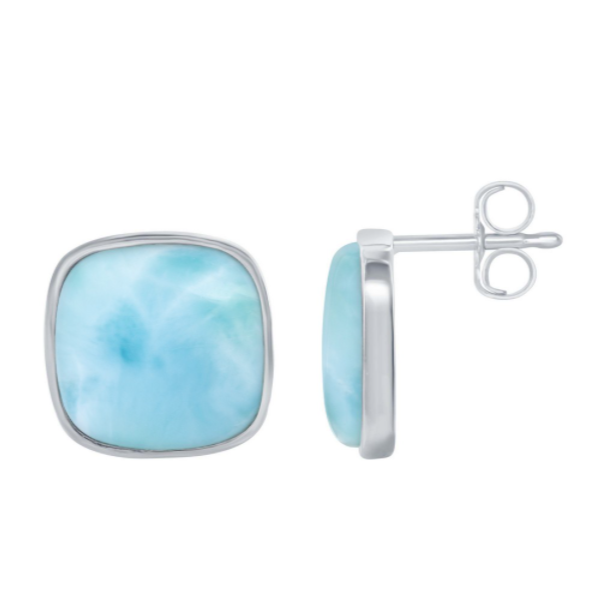 Sterling Silver Square Larimar Stud Earrings