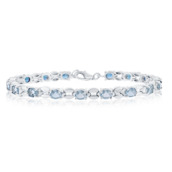 Sterling Silver 7.28cttw Blue Topaz, 5x4mm Oval Linked Bracelet