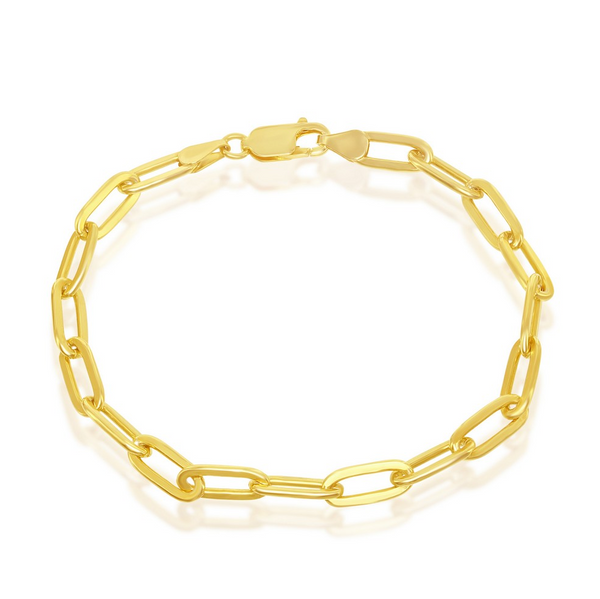 Sterling Silver 4mm Paper Clip Bracelet - Gold Plated