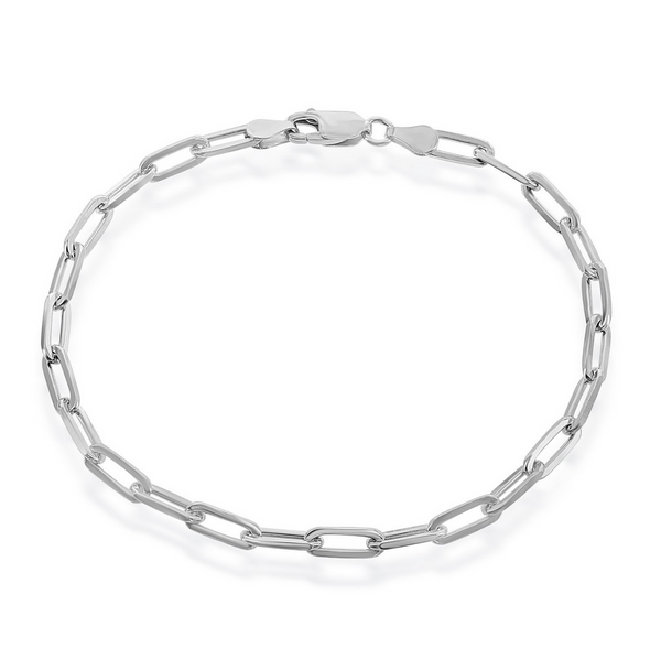 Sterling Silver 4mm Paper Clip Bracelet - Rhodium Plated