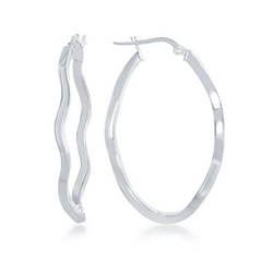 Sterling Silver Wavy Oval Hoop Earrings - Rhodium Plated