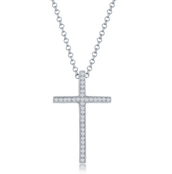 Sterling Silver Micro Pave Cross Pendant