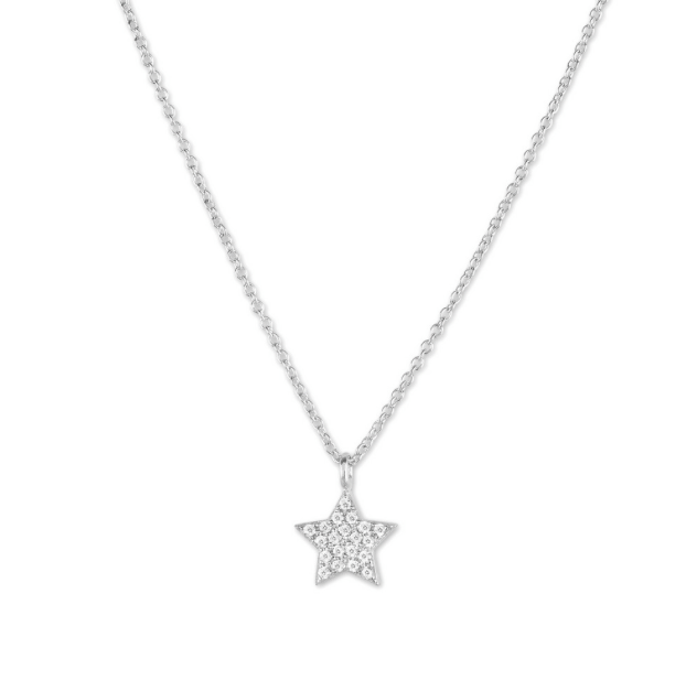 Sterling Silver Small Micro Pave Star Necklace