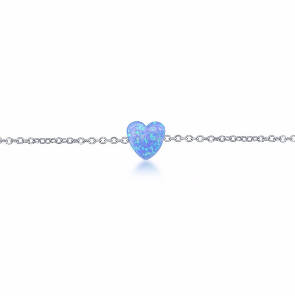 Sterling Silver Blue Opal Heart Anklet