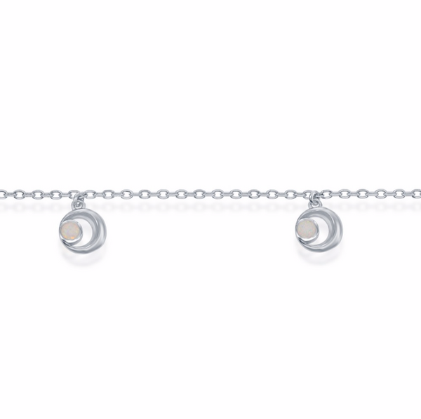 Sterling Silver Crescent Moon Anklet - White Opal