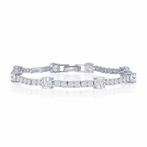 Sterling Silver Round 3mm and 6mm CZ Tennis Bracelet